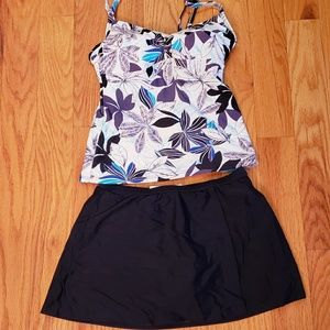 Tankini bathing suit with skirt bottom